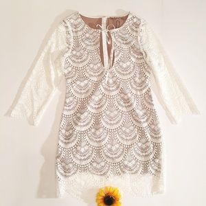 White Lace For Love & Lemons Rosalita dress large